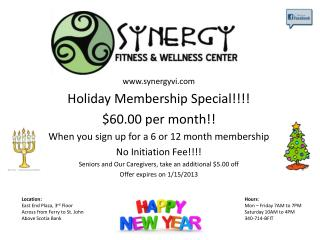 synergyvi Holiday Membership Special!!!! $60.00 per month!!
