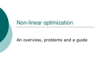 Non-linear optimization
