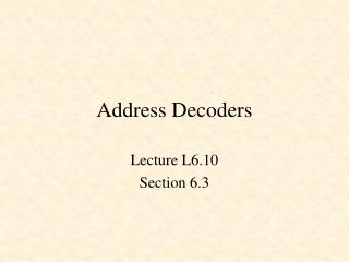 Address Decoders