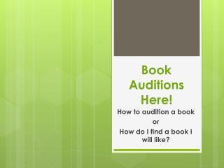 Book Auditions Here!