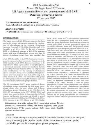 UFR Sciences de la Vie Master Biologie Santé, 2 ème  année.