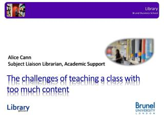 The challenges of teaching a class with too much content