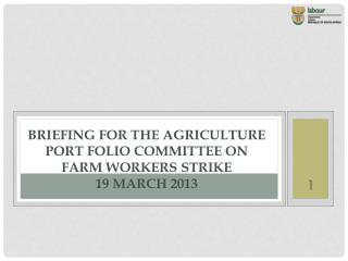 briefing for the agriculture port folio committee on farm workers strike  19 March 2013