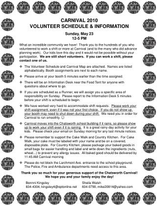 CARNIVAL 2010 VOLUNTEER SCHEDULE & INFORMATION