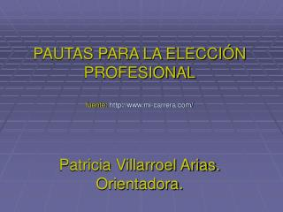 PAUTAS PARA LA ELECCI N PROFESIONAL  fuente: mi-carrera
