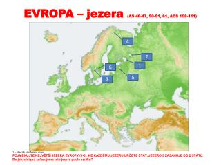 EVROPA – jezera  (AS 46-47, 50-51, 61, ADS 108-111)