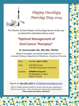 The Greater Toronto Chapter of Oncology Nurses invites you to attend the celebration dinner event