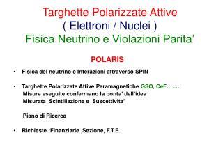 Targhette Polarizzate Attive ( Elettroni / Nuclei ) Fisica Neutrino e Violazioni Parita'
