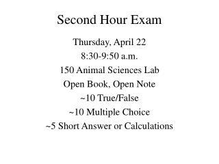 Second Hour Exam