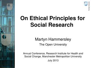 On Ethical Principles for Social Research