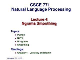 Lecture 4 Ngrams Smoothing
