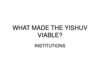 WHAT MADE THE YISHUV VIABLE?