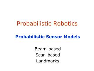 Probabilistic Robotics