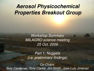 Aerosol Physicochemical Properties Breakout Group