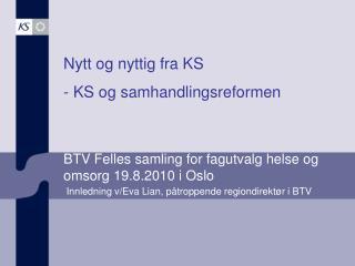 BTV Felles samling for fagutvalg helse og omsorg 19.8.2010 i Oslo