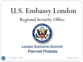 London Economic Summit  Planned Protests