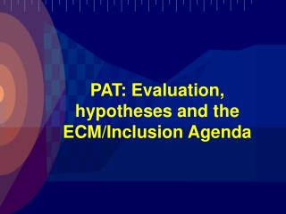 PAT: Evaluation, hypotheses and the ECM/Inclusion Agenda