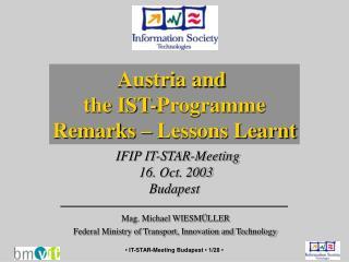 IFIP IT-STAR-Meeting  16 . Oct. 2003 Budapest