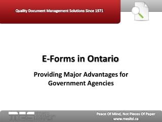 E-Forms in Ontario - MES Hybrid