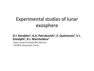 Experimental studies of lunar exosphere