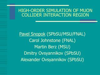 HIGH-ORDER SIMULATION OF MUON COLLIDER INTERACTION REGION