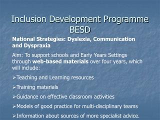 Inclusion Development Programme BESD