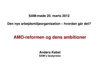 SAM-møde 20. marts 2012  Den nye arbejdsmiljøorganisation – hvordan går det?
