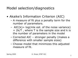 Model selection/diagnostics