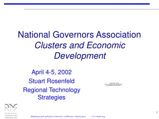 National Governors Association Clusters and Economic Development