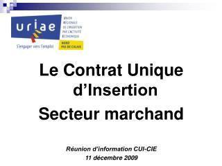 Le Contrat Unique d'Insertion Secteur marchand Réunion d'information CUI-CIE 11 décembre 2009