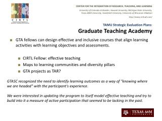 TAMU Strategic Evaluation Plans: Graduate Teaching Academy