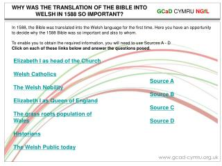 WHY WAS THE TRANSLATION OF THE BIBLE INTO WELSH IN 1588 SO IMPORTANT?