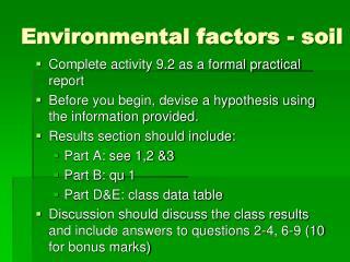 Environmental factors - soil