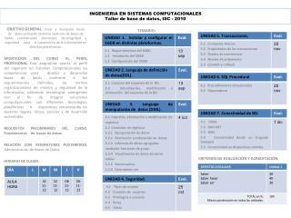 INGENIERIA EN SISTEMAS COMPUTACIONALES Taller de base de  datos , ISC - 2010