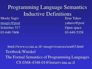 Programming Language Semantics Inductive Definitions