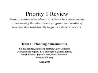 Team 1:  Planning Subcommittee