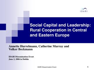 Social Capital and Leadership: Rural Cooperation in Central and Eastern Europe