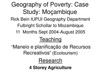 Geography of Poverty: Case Study: Mo çambique