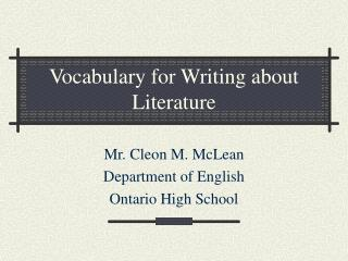 Vocabulary for Writing about Literature
