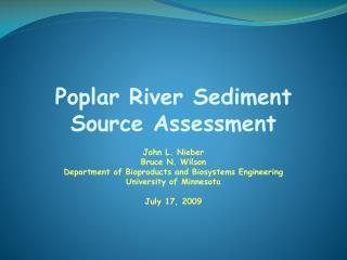 Poplar River Sediment Source Assessment