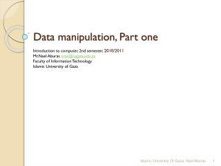 Data manipulation, Part one