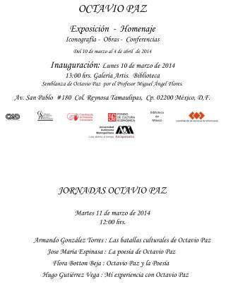 JORNADAS OCTAVIO PAZ Martes 11 de marzo de 2014   12:00 hrs.