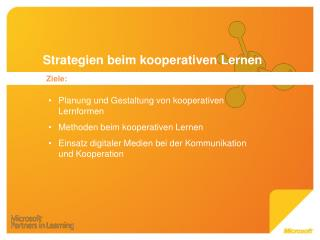 Strategien beim kooperativen Lernen