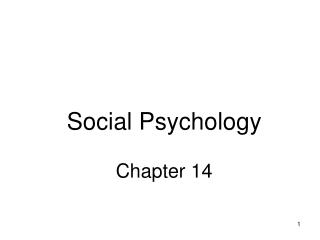 Social Psychology Chapter 14