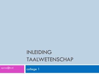 Inleiding taalwetenschap
