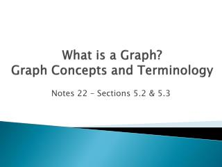 What is a Graph? Graph Concepts and Terminology