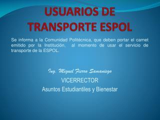 USUARIOS DE TRANSPORTE ESPOL