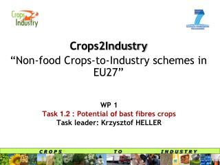 WP  1 Task  1.2  : Potential  of  bast fibr e s crops Task leader:  Krzysztof HELLER