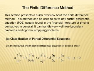 The Finite Difference Method