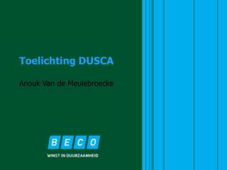 Toelichting DUSCA Anouk Van de Meulebroecke